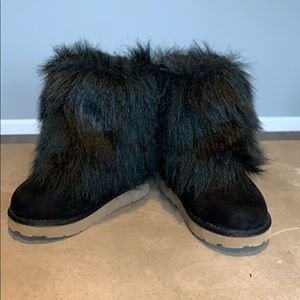 Gap Toddler Girl Size 6 Black Faux Fur Furry Boots